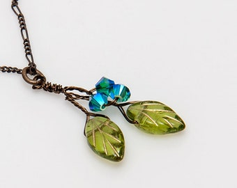 Blue and Green Leaf Necklace, Crystal and Leaf Necklace, Twig Necklace, Leaf Jewelry, Nature Jewelry, CPJ N454, Gift for Her