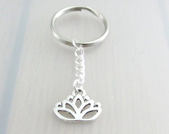 Silver Lotus Flower Keychain, Silver Lotus Flower Keyring, Lotus Charm Keychain, Lotus Keyring