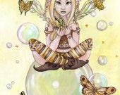 The Gold Fairy fantasy butterflies cartoon illustration lowbrow aceo art card PRINT ATC