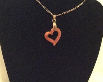 Koa wood open heart pendant