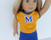 American Girl Doll Clothes, University of Michigan Cheer Outfit, Doll Cheer Outfit, U of M Doll Cheer