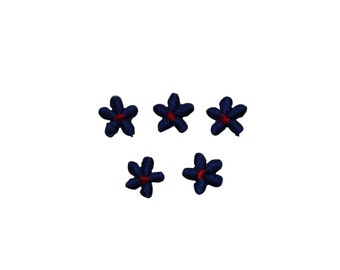 ID #6411 Lot 5 Small Blue Red Flowers Iron On Embroidered Patches Appliques