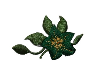 ID #6648 Green Flower and Bud Iron On Embroidered Patch Applique