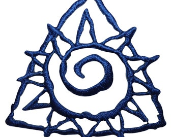 ID #8771 Blue Triangle Spiral Sunny Sun Badge Embroidered Iron On Applique Patch