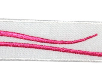ID #9008 White Parallelogram with Pink Wave Streak Design Iron On Applique Patch