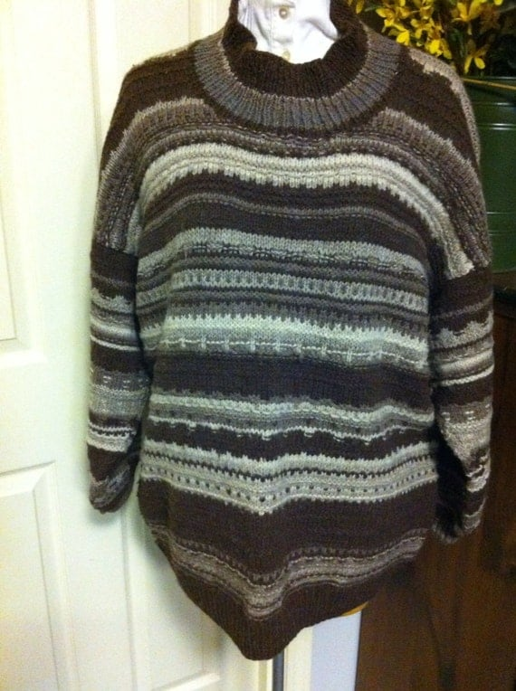 Hand Knit Sweater Mens fair isle XXL by lake88living on Etsy