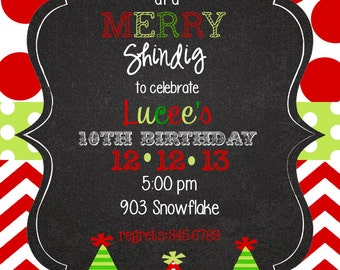 12   Christmas Holiday  Birthday Party Invitations with envelopes -trees
