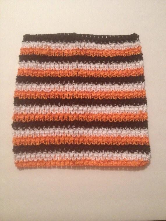 """Orange, Black, and White 9.5"""" Crochet Tube Top for Tutu Dresses"""