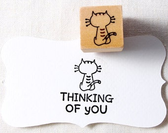 40% OFF SALE Thinking CAT Rubber Stamp (20mm)