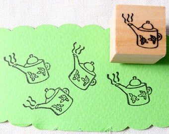 40% OFF SALE teapot Rubber Stamp (20mm)
