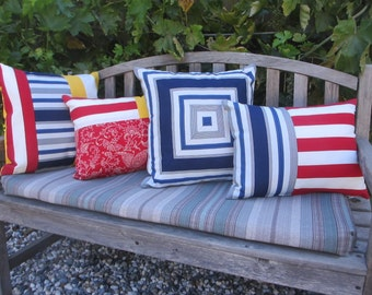 Outdoor Pillow Cover, Pool Patio Pillows, Striped Indoor Outdoor Lawn  Cushions, Red,