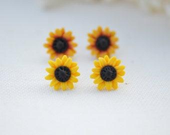 Sunflower Stud Earrings, Summer Flower, Flower Earrings, Summer Jewelry.