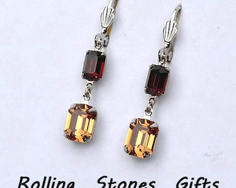 Octagon 2 Stone Smoked Topaz & Light Colorado Topaz Swarovski Lever back Rhinestone Earrings-Octagon,Dangle Earrings -Leverback Earrings