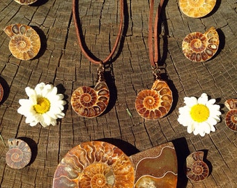 AMMONITE - Unisex fossil necklace on Natural leather