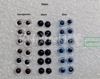 3mm glass eyes in 3 colors -- 18 pairs