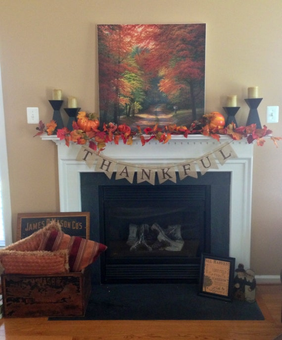 Fall sign - THANKFUL burlap banner -Thanksgiving Burlap banner - Autumn banner - Holiday banner