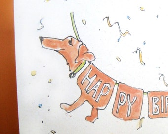 Dachshund Greeting Cards - Happy Birthday! - Set of 5