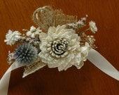 Sola Corsage, Sola Wood Corsage, Rustic Bohemian Sola corsages, White Boutonniere, Sola Bouquets