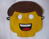 Felt yellow man inspired by Lego. Mask/costume for children.