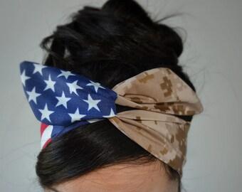 USMC girlfriend, American headband, USMC headband,  Marine Headband - Hair Bows - Flag Headband - Dollybow Headband - Desert headband