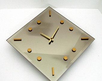 "RETRO Diamond Mirror Clock 1960s Trueflect Beveled Wall Clock Light Smoke Gilt Hour Markers Mid Century Mod Design 12"" x 12"" USA Made"