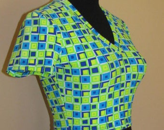 90's NEON CROP TOP // Hackers Club Kid Geometric Shirt S Green Blue White Yellow Halloween Costume No Doubt Ska Skater Punk V Neck Cropped