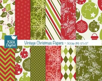 Vintage Christmas Digital Papers -  Christmas Scrapbook Papers - card design, invitations, paper crafts, web design - INSTANT DOWNLOAD