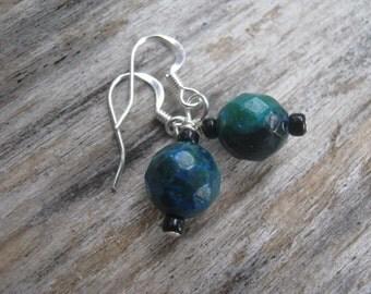 Azurite Malachite Earrings, Faceted Gemstone Earrings, Silver Earrings, Earthy Earrings, Green and Blue Earrings, READY To SHIP