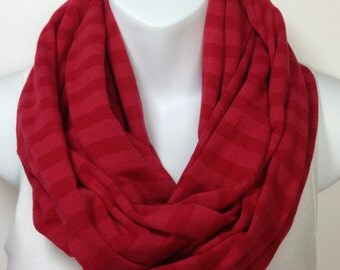 Red on red striped infinity scarf