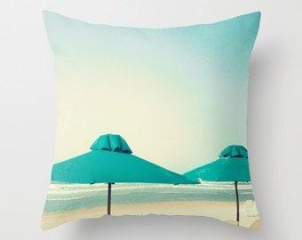 Pillow cover, beach pillow, bach art, turquoise pillow, aqua pillow, mint pillow, white pillow, bathroom decor, nautical nursery art~