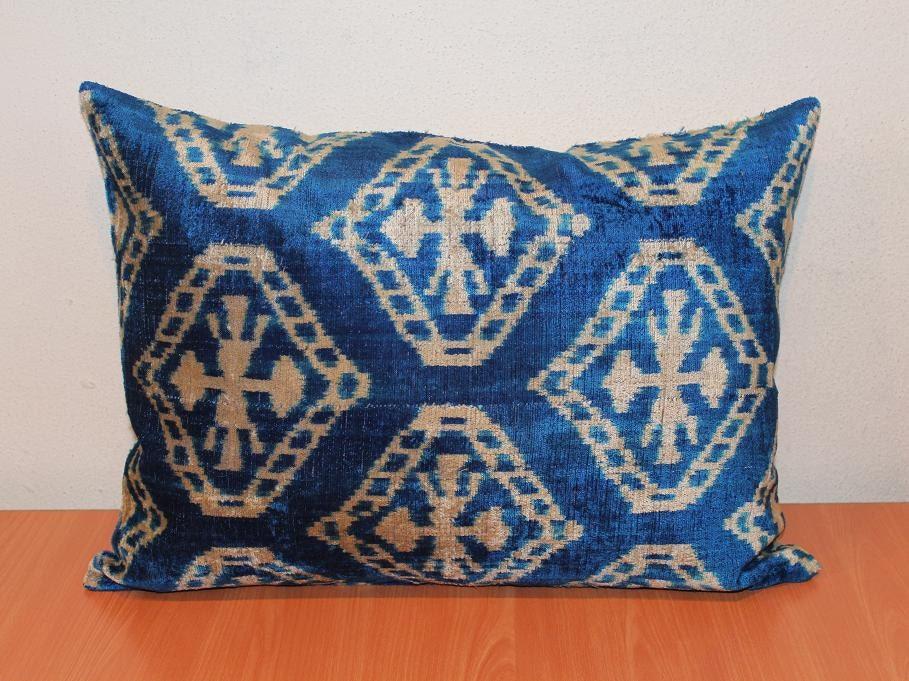 Blue Sofa Pillows - Ink Blue Fabric Sofa W Accent Pillows, Blue Pillow Cover Silk Cobalt Blue ...