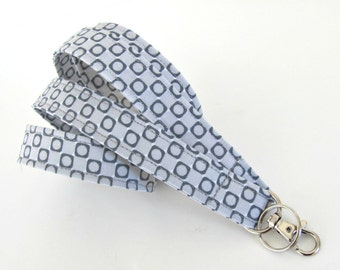Fabric Lanyard ID Badge Holder Geometric Gray Ladies, Men's Accessories, Teacher Lanyard Keychain