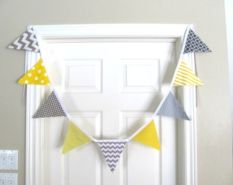 Birthday Bunting Yellow Grey Chevron Banner, Wedding Pennant Banner, Photography Prop, Nursery Decor, Baby Shower Fabric Flags Banner