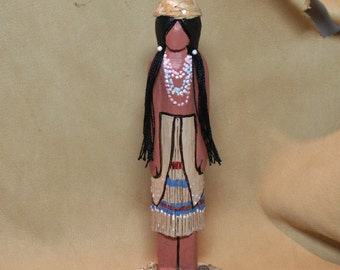 Yurok Native American Indian faceless worry doll gift wood carving historical collectible