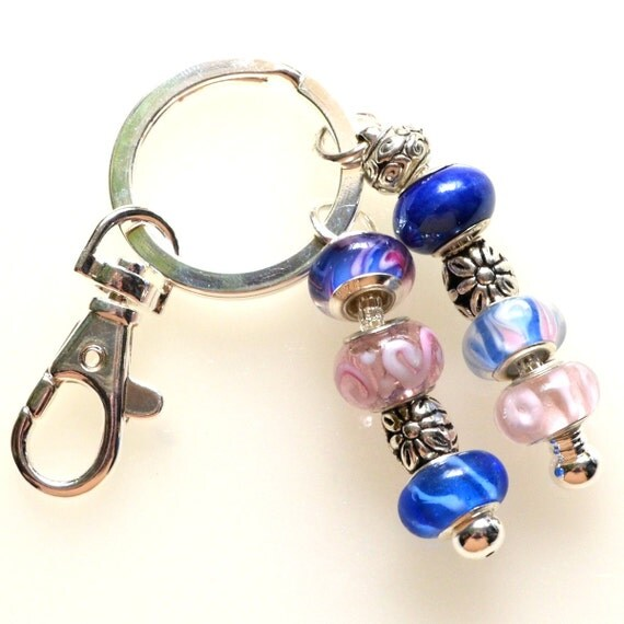 pretty pink and blue beaded key ring