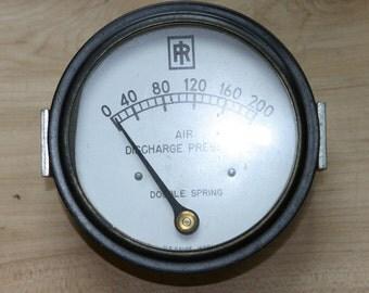 "Vintage MAINE FARM Large Black 4"" Glass Lens Pressure Gauge Industrial Steam Punk Highly Collectable"