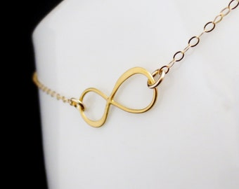 Gold Infinity Necklace, Infinity Charm Necklace, Mothers Day Gift, Bridesmaid Bridal Party, Anniversary Gift