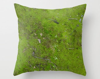 Moss, pillow cover, woodland, twigs, mossy, nature, texture, forest, chartreuse green, Lesvos Greece