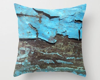 Letting Go, pillow cover, aqua, blue, brown, taupe, grey, peeling paint, wood, grain, rough, rustic, tactile, distressed, grunge, Greece