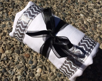 Burp Cloth / Changing Pad: Chevron Zig Zag Print on Gray, Personalization Available