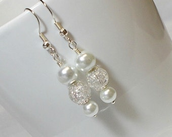 Bright White Pearl With Crackle Quartz Bead Wedding Party Earrings