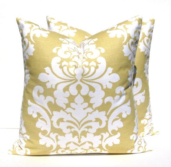 Yellow pillow Gold Pillow Pillows Decorative Pillow TWO 20x20