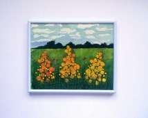 textile fibre art embroidered fabric picture thread painting  wall hanging