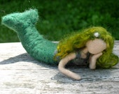 Green Mermaid Doll - Needle Felted Mermaid Toy - Waldorf Fantasy Doll