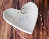 Personalized Ring Bearer Heart Bowl with Silver Monogram - Gift Packaged & Ready to Give