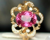 Engagement Ring -  3.1 Carat Pink Tourmaline Engagement Ring With Diamonds In 14K Yellow Gold