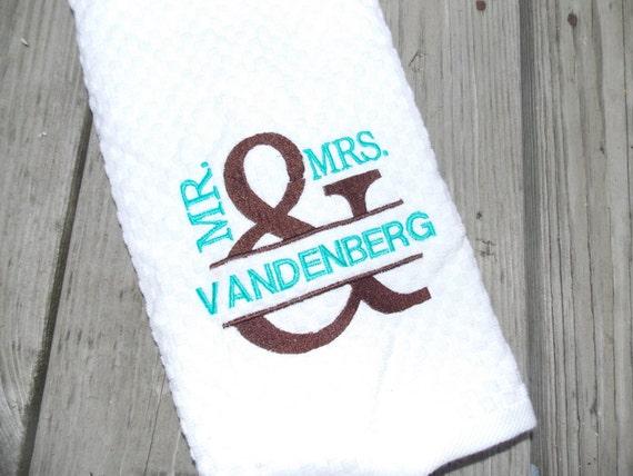 Kitchen Wedding Gifts: MR & MRS Personalized Kitchen Towel Cotton Anniversary Gift