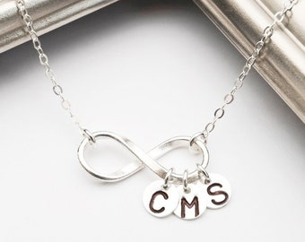 Infinity Necklace Personalized Necklace Mothers Necklace Mom Initial Necklace Infinity Jewelry, Grandma Grandmother, Sterling & Fine Silver
