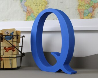 Wood Letters - Free Standing Distressed Wooden Letters - Alphabet Decor Letter Q