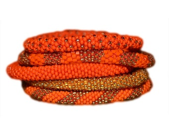Orange ,Gold Beaded Bracelet Set, Seed Beads,Nepal - BS58